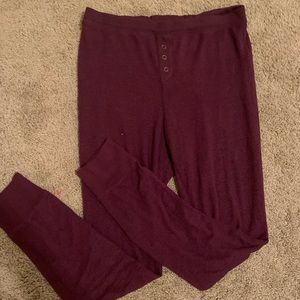 purple sweatpants with buttons